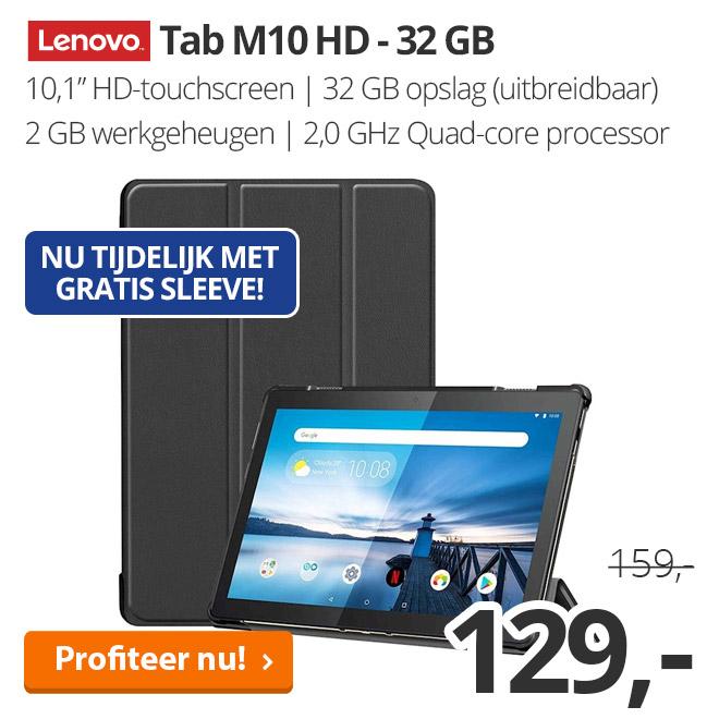 Lenovo Tab M10 HD - 32 GB - Zwart