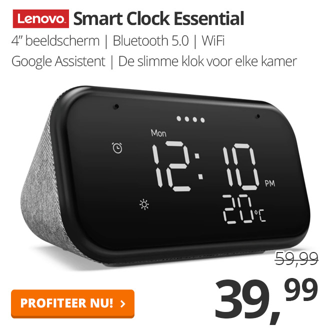 Lenovo Smart Clock Essential - Grijs - ZA740001SE