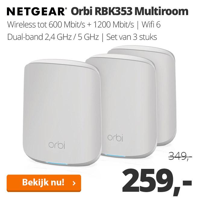 Netgear Orbi RBK353 Multiroom Wifi systeem - 3 stuks